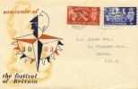 1951 Festival of Britain, Souvenir FDC, London EC Wavyline Cancel