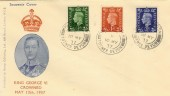 1937 King George VI ½d, 1d, 2½d First Definitives, Illustrated FDC Blackawton Totnes cds