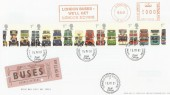 2001 Buses, Royal Mail FDC, London We'll Get London Moving Meter Mark + Terminus Road Eastbourne cds