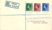 1936 King Edward VIII ½d,1½d,2½d, Registered Plain FDC, Windsor Berks cds.