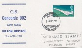 1969 Concorde 002 First Flight Filton Bristol, Mermaid Stamps Cover, Scarce