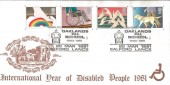 1981 Year of the Disabled, St.Mary's The Virgin Goldington  FDC, Oaklands School Salford H/S