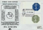 1974 3p & 3½p Self Adhesive Labels FDC, Branch Office Trafalgar Square WC2 H/S.