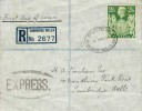 1942 KGVI 2/6d Green High Value Arms Registered Express Delivery FDC, Tunbridge Wells Oval Registered cds