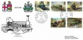 1985 Famous Trains, Hawkwood Official FDC, 150th Anniversary of GWR The Great Western Town Swindon H/S.