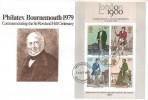 1979 Rowland Hill Miniature Sheet, Philatex Bournemouth Special FDC, Southampton FDI