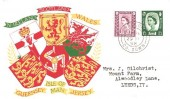 1958 6d & 1/3d  Wales, Scotland, Northern Ireland, Regional stamps, Matching set of 3 Illustrated First Day Covers