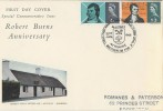 1966 Robert Burns, Connoisseur FDC, Alloway Ayrshire H/S, Ordinary Set