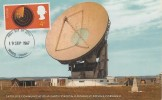 1967 British Discoveries, Colour Postcard of the Satellite Communications Earth Station, Goonhilly Down, Cornwall, 4d Truro FDI