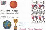 1966 England World Cup Winners, Connoisseur FDC, Block of 4 with Harrow & Wembley FDI
