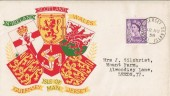 1958 Set of 6 Matching Regional FDC's, Jersey, Guernsey, Isle of Man, Scotland, Northern Ireland, Wales with Relevant Postmarks.