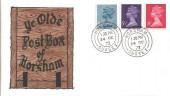 1973 4½p, 5½p, 8p Definitive Issue, Ye Olde Post Box of Horsham FDC, Horsham cds