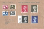 1970 10p, 20p, 50p, £1 Recess Printed & 10p, 20p, 50p, £1 Postage Dues on one Plain FDC. VERY RARE