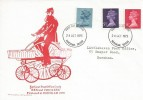 "1973 4½p, 5½p, 8p Machin Definitive Issue, Earliest Post Office Cycle ""Hen & Chickens"", Horsham, Post Office Bicycle FDC."