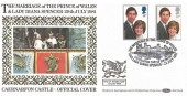 1981 Royal Wedding, Benham BOCS(2)6 Official FDC, Prince of Wales & Lady Diana Caernarfon H/S