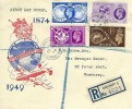 1949 75th Anniversary of the UPU Registered Harris Strand FDC, Les Gravees Guernsey Channel Islands cds