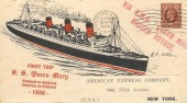 1936 First Voyage SS Queen Mary England to America, London SW1 cancel, Scarce Cover, carried onboard the Queen Mary
