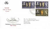 1964 Shakespeare Festival, Modern Farmer FDC, 2 x 3d + 6d ordinary stamps only, Stratford Upon Avon FDI