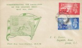 1948 Channel Islands Liberation, F E Barnes Illustrated FDC, Jersey Channel Islands cds.