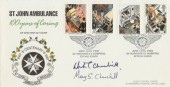 1987, St John Ambulance Arlington Official FDC, St Margaret's Hospital, Epping, Essex H/S, Signed by Churchill's Daughter Mary S Churchill & Grandson Winston Churchill,