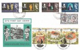 1964 Shakespeare Festival, GPO FDC, Stratford on Avon FDI, Doubled with the 1995 Shakespeare's Globe Theatre issue.
