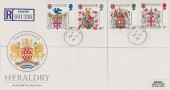 1984 Heraldry, Registered Royal Mail FDC, Chester cds.