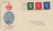 1937 ½d, 1d, 2½d, King George VI Definitive Issue, Stamp Collecting Illustrated FDC, London WC Cancel.