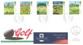 1994 Golf, Guaranteed Delivery Royal Mail FDC, Caddy Antrim cds.