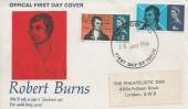 1966 Robert Burns, Philatelists' Den FDC, London WC FDI.
