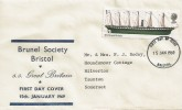 1969 British Ships, Brunel Society Bristol FDC, 1/- SS Great Britain Stamp, Bristol FDI.