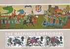 1966 Battle of Hastings, Hastings Embroidery Postcard, 3 x 4d stamps, Birmingham-Crewe TPO cds.