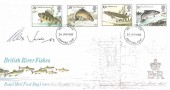 1983  British River Fish, Royal Mail FDC, signed by Alex Jardine Stamp Designer.