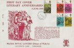 1970 Literary Anniversaries, 9th/12th Royal Lancers, Catterick Camp FDC, Darlington FDI.