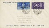 1946 Victory, Tangier overprint, Display FDC, British Post Office Tangier cds.