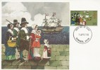 1970 General Anniversaries, Cameo Maxicard, 1/6d Pilgrim Fathers stamp, Plymouth FDI.