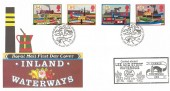 1993 Inland Waterways, Royal Mail FDC, Philatelic Bureau H/S with Carried aboard Lee and Stort Waterbus Cachet.