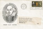 1964 Shakespeare Festival, Illustrated Quartocentenary of Shakespeare's birth FDC, First Day of Issue Stratford Upon Avon Slogan.