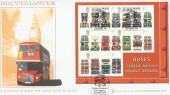 2001 Buses Miniature Sheet, Buckingham Cover 8A Official FDC, Buses Britain's Favourite Magazine London SW H/S.