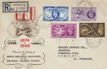 1949 Universal Postal Union, Registered BPA & PTS FDC, Stockport Road Woodley Stockport Cheshire cds.