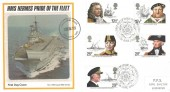 1982 Maritime Heritage, PPS Silk No. 4 FDC, HMS Hermes Pride of the Fleet FDC, First Day of Issue Portsmouth H/S.