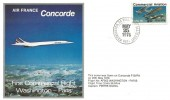 1976 Air France Concorde, First Commercial Flight Washington - Paris Cover, Washington DC Philatelic Sales Unit USPS H/S.