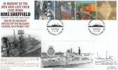 1999 Workers' Tale, HMS Sheffield Official Royal Naval Covers Group FDC, In memory of the Men Lost on HMS Sheffield H/S, signed.