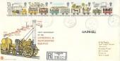1980 Liverpool & Manchester Railway, Registered Stuart FDC, Rainhill Prescot Merseyside cds.