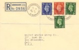 1937 King George VI, ½d,1d & 2½d Definitives, Registered Plain FDC, Kingstanding Road Birmingham 22 cds.