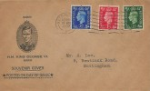 1937, King George VI, ½d, 1d & 2½d Definitive Issue, Scarce Manilla Illustrated FDC, Nottingham A Cancel