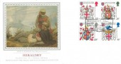 1984 Heraldry, PPS Silk No.1 FDC, Richard III born 1452 Fotheringhay Castle Fotheringhay Peterborough H/S.
