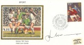 1980 Sporting Anniversaries, Colorano Silk FDC, 13½p Ruby Stamp, First Day of Issue Cardiff, signed by J P R Williams MBE.