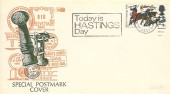 1968 Battle of Hastings, Illustrated Cover, 4d stamp only, Today is Hastings Day Slogan Hastings Sussex.
