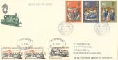1970 Christmas, Festiniog Railway FDC, Porthmadog Caernarvonshire cds + 3 Railway Letter stamps.
