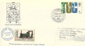 1968 British Anniversaries, Talyllyn Railway FDC, 4d TUC Stamp only, Towyn Merioneth cds, 1/1d Railway Letter Stamp.